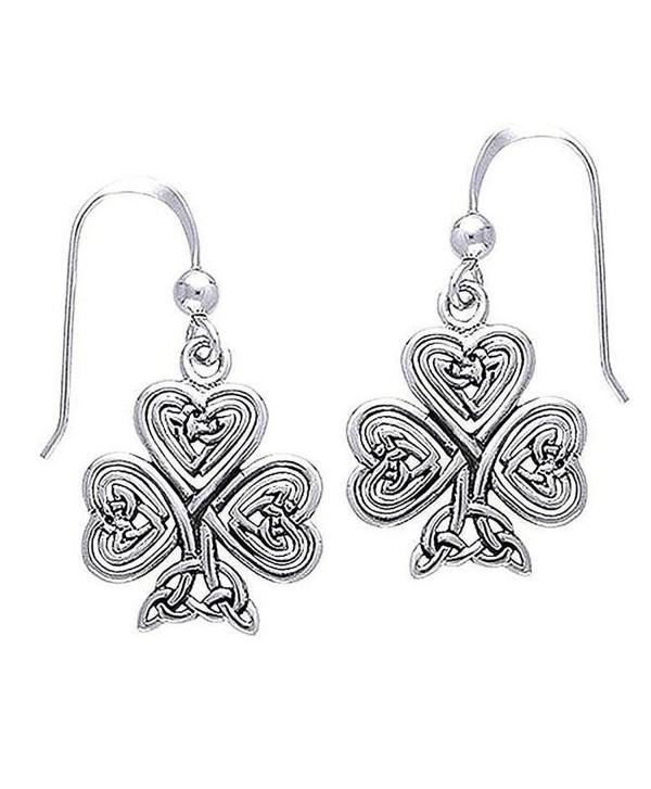 St. Patrick's Irish Shamrock or 3-Leaf Clover Heart Celtic Knot Sterling Silver Hook Earrings - CV111MCBWGX