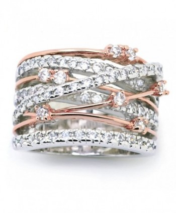 Sparkly Bride CZ Statement Ring Crossover Two-tone Rose Gold Plated Wide Band Women Fashion - CN12CE0HPWV