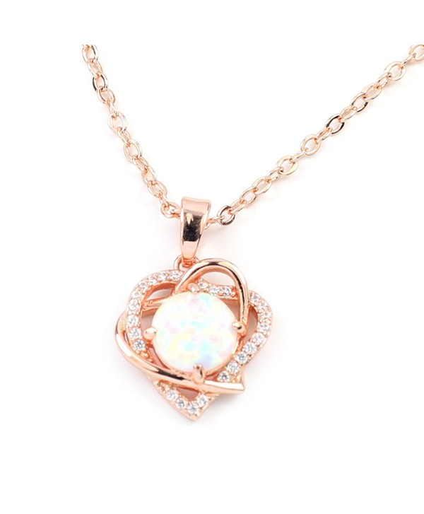 FC JORY White & Rose Gold GP Women Girl CZ Crystal Pendant Open Heart Created Opal Necklace - rose gold - CB188CA5O9D