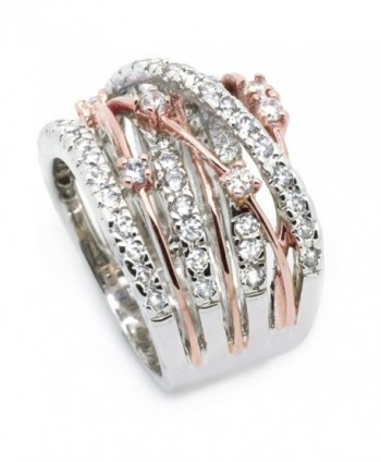 Sparkly Bride Statement Crossover Two tone in Women's Band Rings