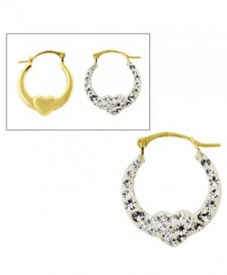 10KT Gold Hoops with Crystal Heart - CK119YM36HB