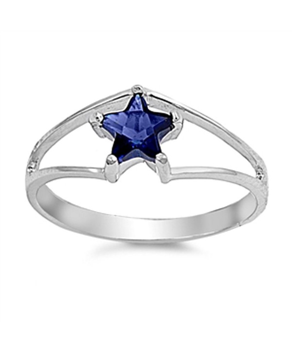 CHOOSE YOUR COLOR Sterling Silver Star Ring - Blue Simulated Sapphire - CG187YR5T60