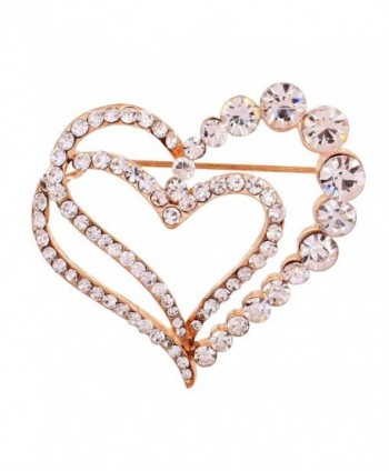 YAZILIND Jewelry Glaring Pretty Loving Heart Brooches and Pins Vintage for Women & Girls - Golden - C311HZ4RZI1