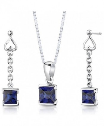 Created Sapphire Pendant Earrings Necklace Sterling Silver Rhodium Nickel Finish Dangle Princess Shape - CJ112TBOFT7