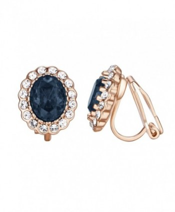 Yoursfs Sapphire Clip Earrings Circular Halo Navy Crystal 18k Rose GP Jewelry for Women - Sapphire - CK18327Y0OQ