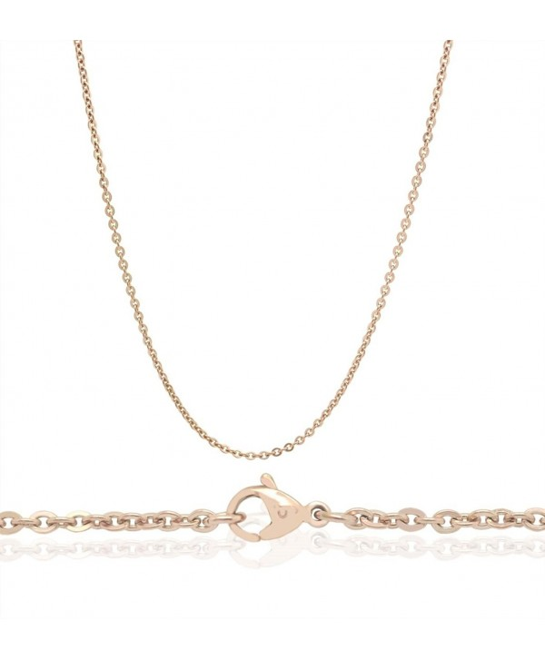 "Chelsea Jewelry Basic Collections 22"" 18K Rose Gold Flat Cable Chain Necklace - CF12I331TIT"