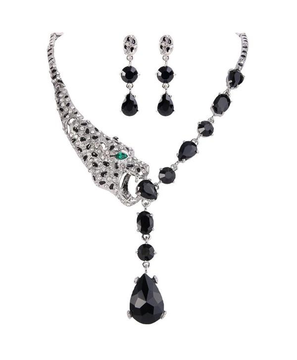 EVER FAITH Silver-Tone Leopard Teardrop Necklace Earrings Set Black Zircon Austrian Crystal - C411BGDLJLL