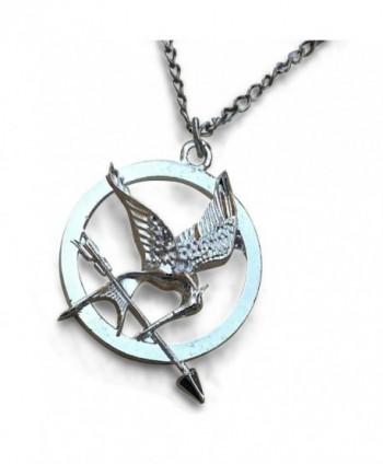 HG Silver Tone Katniss Mocking Bird Pendant Necklace - CN11U1EH3DJ