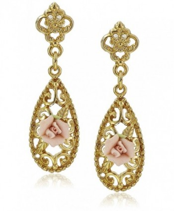 Downton Abbey Carded Gold-Tone Pink Porcelain Rose Drop Earrings - CM124IYUFQT