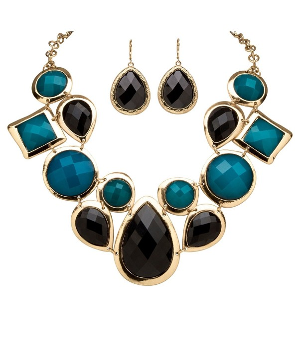 88bfc766132616 Black and Teal Simulated Crystal Gold Tone Geometric Necklace and Earrings  Set 19