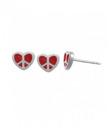 Boma Sterling Silver Peace Heart Stud Earrings - Apple Coral - CI11V1JU8PD