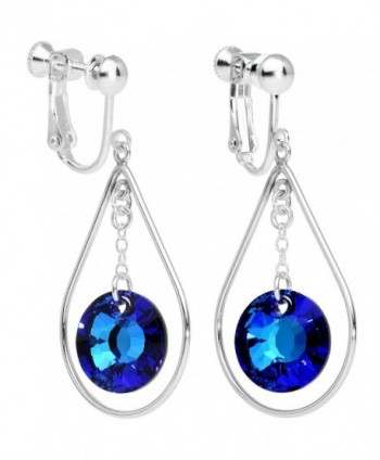 Body Candy Handcrafted Silver Plated Post Blue Drop Clip On Earrings Created with Swarovski Crystals - C612DKZXK1T