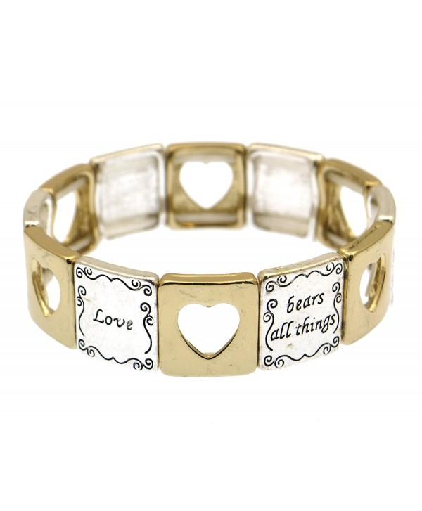 1 Corinthians 13:7 Love Never Ends Scripture Engraved Elastic Tile Bangle Bracelet - Two Tone - CH11WDRRL25