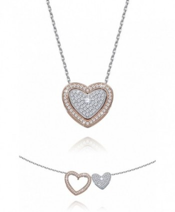 Fancydeli Rose Gold Plated Women Heart in Heart Pendant Necklace for mother women - CC12CD31KR5
