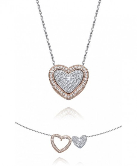 Fancydeli Rose Gold Plated Women Heart in Heart Pendant Necklace for mother women - CC12CD31KR5