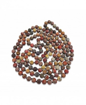 BjB Long Endless Matte Finish Semi-precious Stone Necklace- 60 Inches Long. - Picasso Stone - CN185629L7L