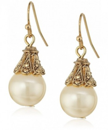 1928 Jewelry Gold-Tone Simulated Pearl Drop Earrings - CZ11N8POAOR