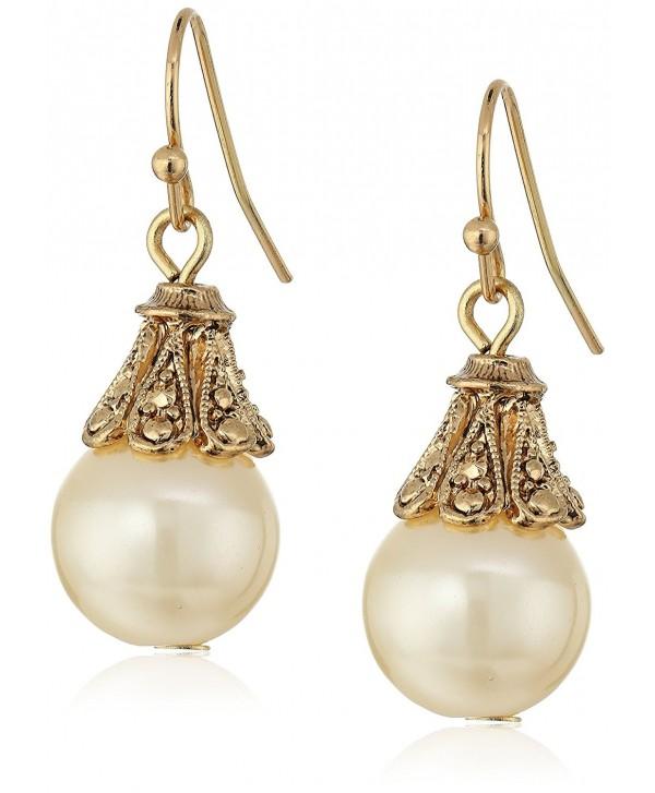 1928 Jewelry Gold-Tone Simulated Pearl Drop Earrings - CZ11N8POAOR