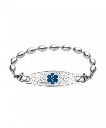 Divoti Custom Engraved Beautiful Olive Medical Alert Bracelet -Rice Bead Stainless -Deep Blue - CT12N81K8WF