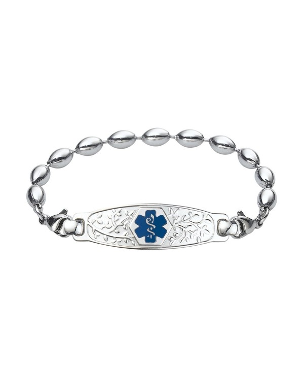 Divoti Custom Engraved Beautiful Olive Medical Alert Bracelet -Rice Bead Stainless -Deep Blue - CT12N81K8WF