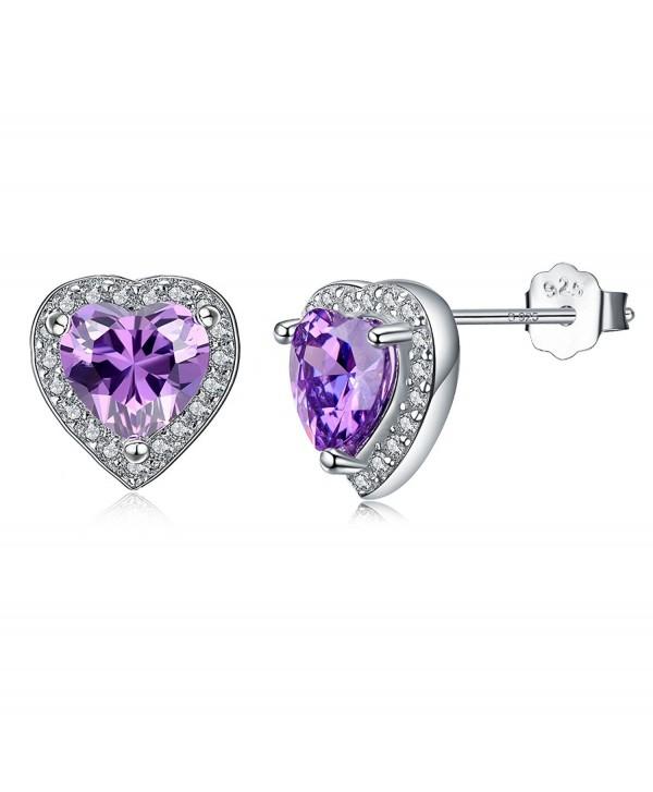 925 Sterling Silver Halo Heart Stud Earrings Amethyst Gemstone Birthstone Stud Earrings for Women - CW185X7EL5A