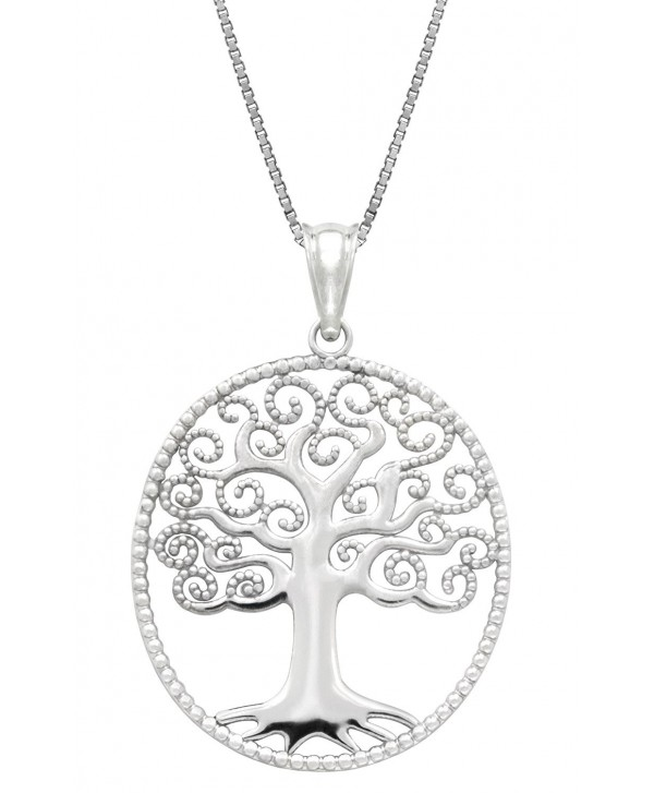 "Sterling Silver Tree of Life Necklace Pendant with 18"" Box Chain - CH119FNA9D7"
