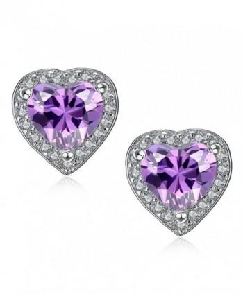 Sterling Earrings Amethyst Birthstone Christmas in Women's Stud Earrings