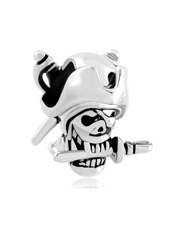 CandyCharms Halloween Skull Charm Pirates Of The Caribbean Captain Jack bead For Bracelet - C017YYZSLU4