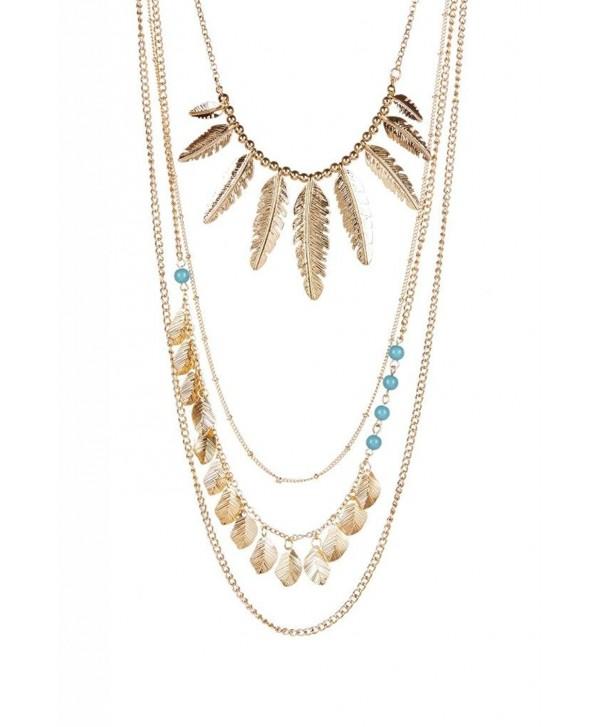 Lux Accessories Layered Leaf Necklace - C211QJWMFCL