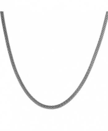 "VALYRIA Silver Stainless Steel 2.4mm Round Mesh Chain Necklace 18"" 20"" 22"" 24"" 26"" 28"" - CP12NR73SSM"