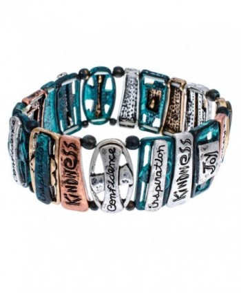 PammyJ Tri-Tone Inspirational Words with Patina Finish Stretch Bracelet - CH11YMAZ3YX