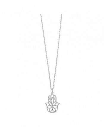 Boma Sterling Silver Hamsa Hand Necklace- 18 Inches - CT12BXADNOV