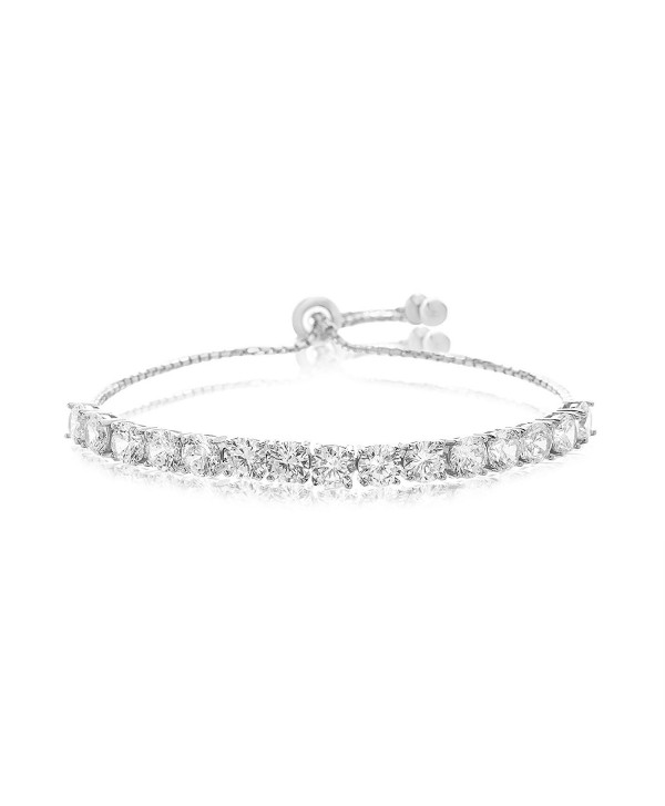 Lesa Michele Lab Created Cubic Zirconia Tennis Bolo Bracelet in Sterling Silver - CE187ZY8298