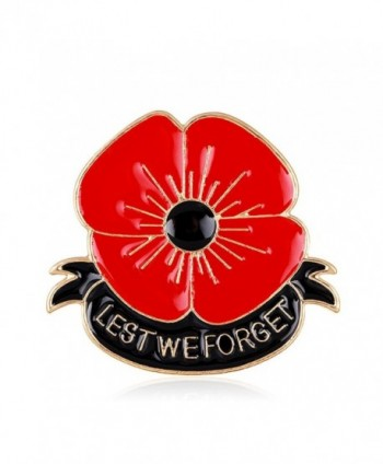 Lest We Forget Poppy Brooch Pin Flower Broach Memorial Day Remembrance Day - CQ128U1MKWX