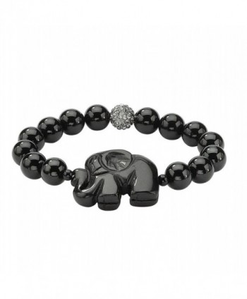 "Genuine Black Agate Elephant and Simulated Crystal Accent Beaded Stretch Bracelet 8"" - CI11Q7S7VLR"
