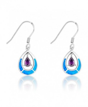 Sterling Silver Created Blue Opal and CZ Teardrop Dangle Earrings - Amethyst CZ - CA11T0THPY3