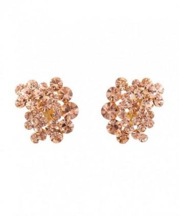 Grace Jun Bridal Gold Color Double Five Leaves Flower Rhinestone Crystal Clip on Earrings No Pierced - champagne - CS184R468N0