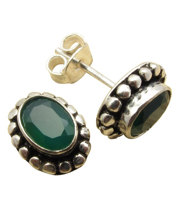 925 Sterling Silver Plated Gift !! Cut GREEN ONYX Gem STUD Earrings Factory Direct Discount Jewelry - C0184UKRIY6