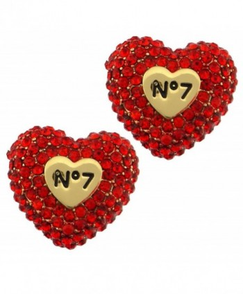 Valentines day gift crystal pave puffy heart peekaboo post button earrings - Red Lt. Siam - CJ11U83RI3X