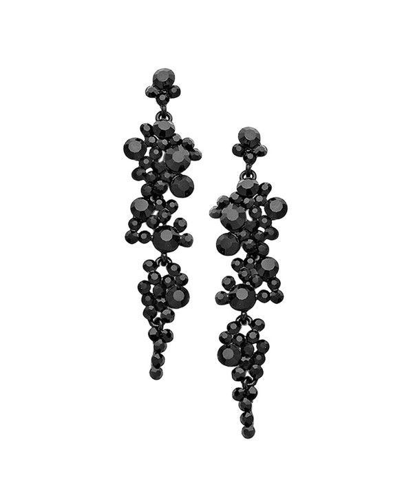 Rosemarie Collections Women's Crystal Rhinestone Bubble Dangle Statement Earrings - Black - C0184AMNS5L