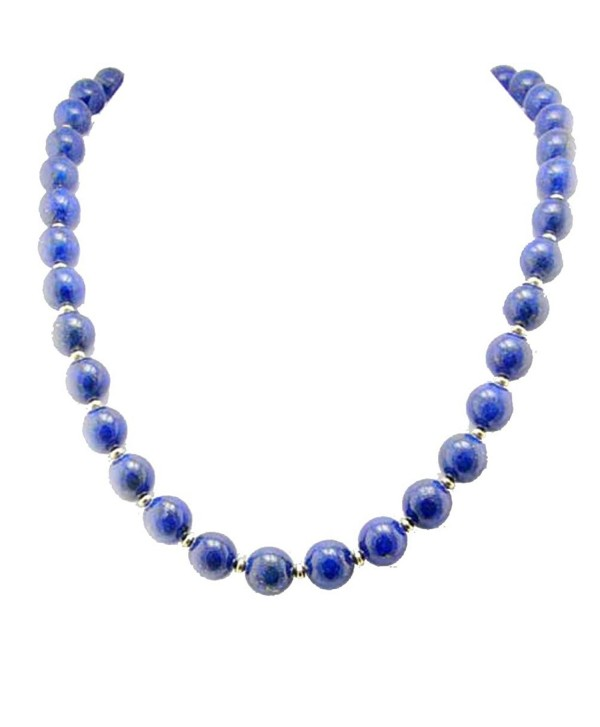 "10mm Blue Lapis Stone Gold-Plated Sterling Silver Necklace- 18""+2"" Extender - C711GJVAJR9"