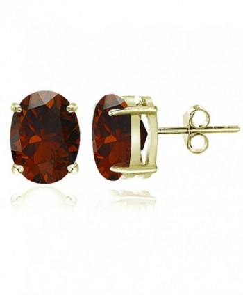 Sterling Silver Garnet Oval Stud Earrings- All Sizes - 8x6mm-Gold Flash Silver - CC12J35AW6Z
