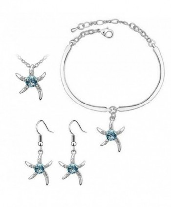 Finov Crystal Starfish Pendant Necklace Bracelet Earrings 3-in-1 Jewelry Set - Ocean Blue - CO12FOJRVU5