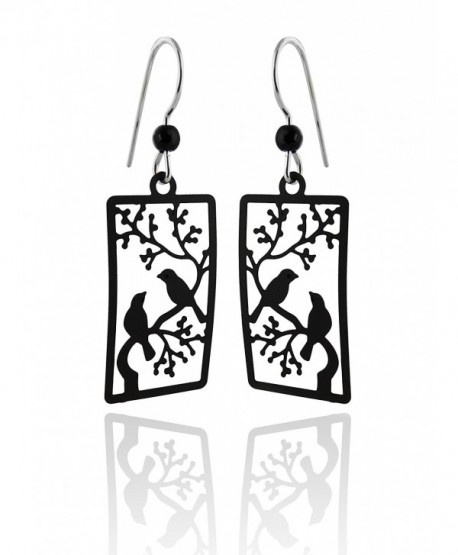 Sienna Sky Hand Painted Black Birds in Tree Earrings- Sterling Silver Ear Wires - C412D6PHPL9