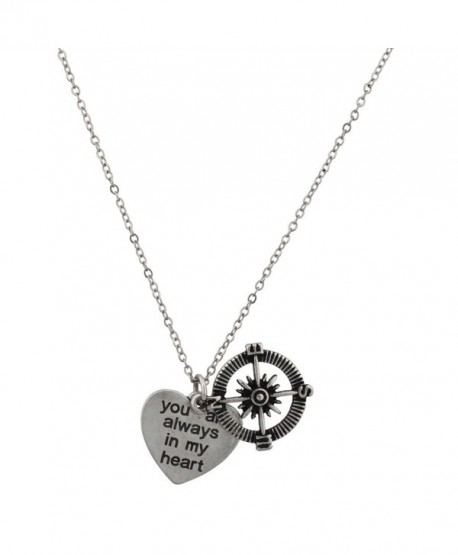 Lux Accessories You Are Always In My Heart Compass Find My Way Charm Pendant Necklace. - CO125BQWWF5