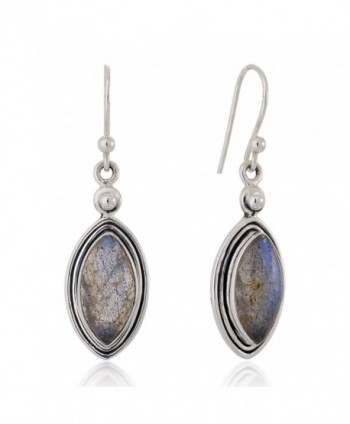 "925 Sterling Silver Natural Labradorite Gemstone Marquise Shaped Dangle Hook Earrings 1.5"" - CE12BOY86BH"