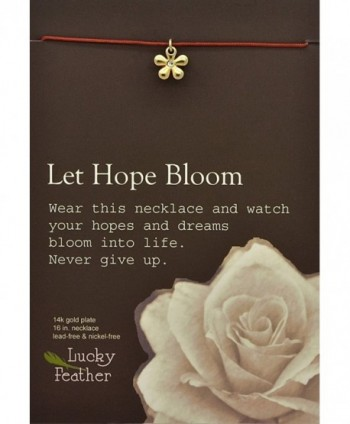 "Lucky Feather Pretty Moon ""Let Hope Bloom"" 14k Gold dipped Flower Necklace - CE11DPV263H"