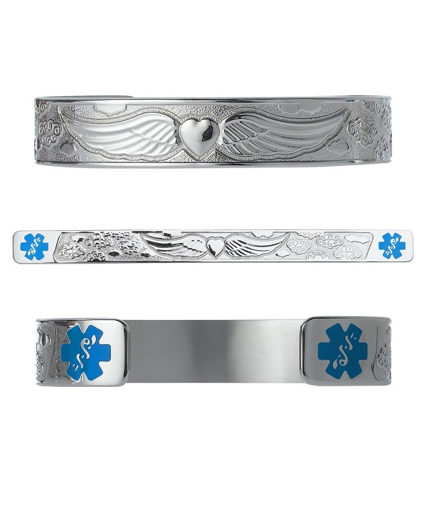 "Divoti Custom Engraved Angel Wing 316L Medical Alert Bracelet -6"" Cuff (fits 6.5-8.0"") - Light Blue - CK12O8ZDQ70"