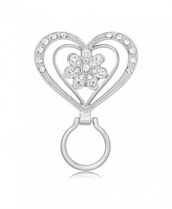 MANZHEN New Crystal Flower Brooch Magnetic Clip Holder Double Heart Magnetic Eyeglass Holder Brooch - Silver - C9183O8LW85