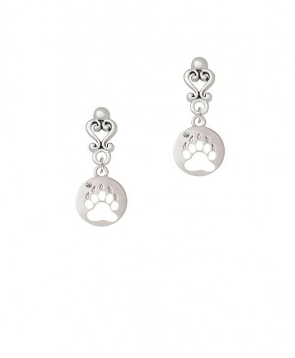 Bear Paw Silhouette - Filigree Heart Earrings - CX17YSA2I2X